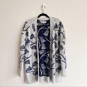 LOFT Long V-Neck Chunky Cardigan in Floral Print